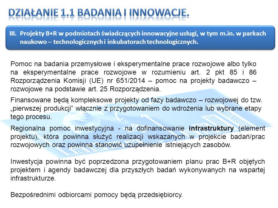 III.Projekty B+R w podmiotach świadczących innowacyjne usługi, w tym m.in.