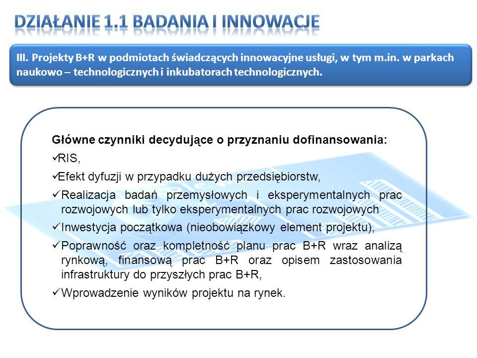 III. Projekty B+R w podmiotach świadczących innowacyjne usługi, w tym m.in.