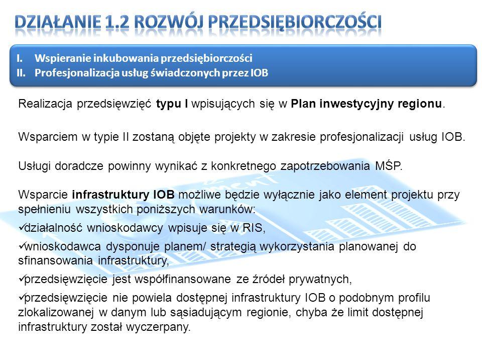 I.Wspieranie inkubowania przedsiębiorczości II.Profesjonalizacja usług świadczonych przez IOB I.Wspieranie inkubowania przedsiębiorczości II.Profesjonalizacja usług świadczonych przez IOB Realizacja przedsięwzięć typu I wpisujących się w Plan inwestycyjny regionu.