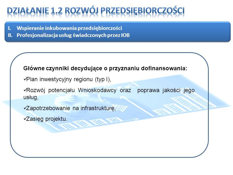 I.Wspieranie inkubowania przedsiębiorczości II.Profesjonalizacja usług świadczonych przez IOB I.Wspieranie inkubowania przedsiębiorczości II.Profesjonalizacja usług świadczonych przez IOB Główne czynniki decydujące o przyznaniu dofinansowania: Plan inwestycyjny regionu (typ I), Rozwój potencjału Wnioskodawcy oraz poprawa jakości jego usług, Zapotrzebowanie na infrastrukturę, Zasięg projektu.