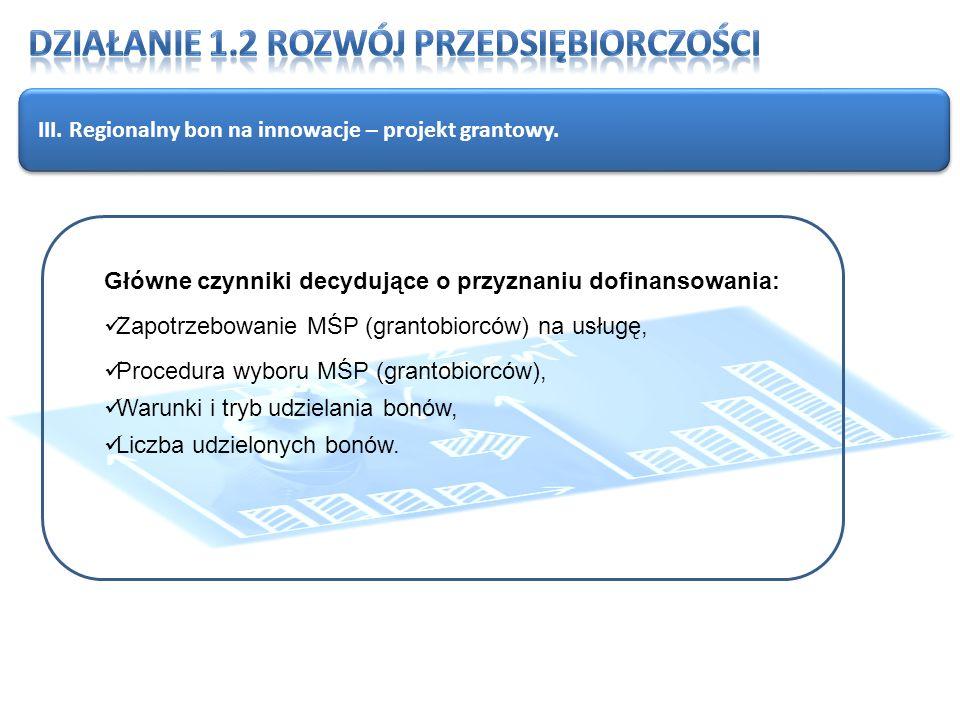 III. Regionalny bon na innowacje – projekt grantowy.