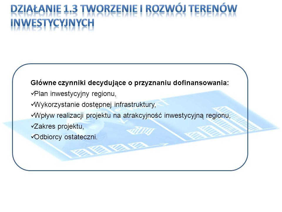 Główne czynniki decydujące o przyznaniu dofinansowania: Plan inwestycyjny regionu, Wykorzystanie dostępnej infrastruktury, Wpływ realizacji projektu na atrakcyjność inwestycyjną regionu, Zakres projektu, Odbiorcy ostateczni.