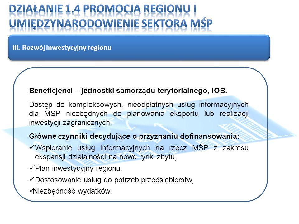 III. Rozwój inwestycyjny regionu Beneficjenci – jednostki samorządu terytorialnego, IOB.