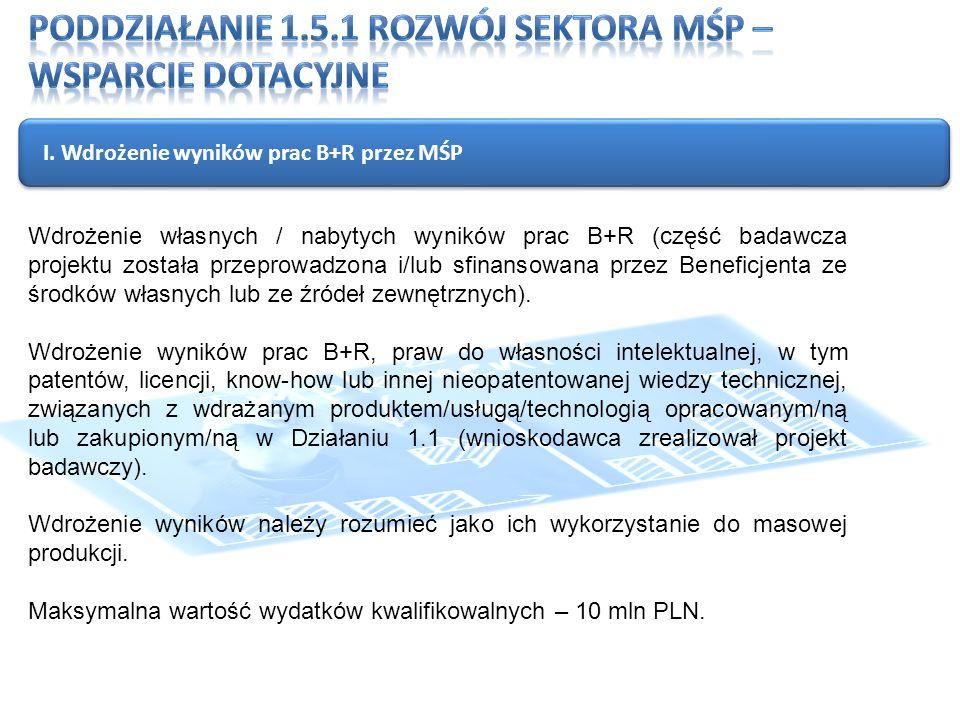 I. Wdrożenie wyników prac B+R przez MŚP Wdrożenie własnych / nabytych wyników prac B+R (część badawcza projektu została przeprowadzona i/lub sfinansow