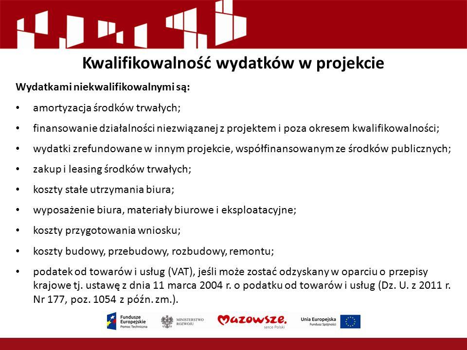 Kwalifikowalność wydatków w projekcie Wydatkami niekwalifikowalnymi są: amortyzacja środków trwałych; finansowanie działalności niezwiązanej z projekt