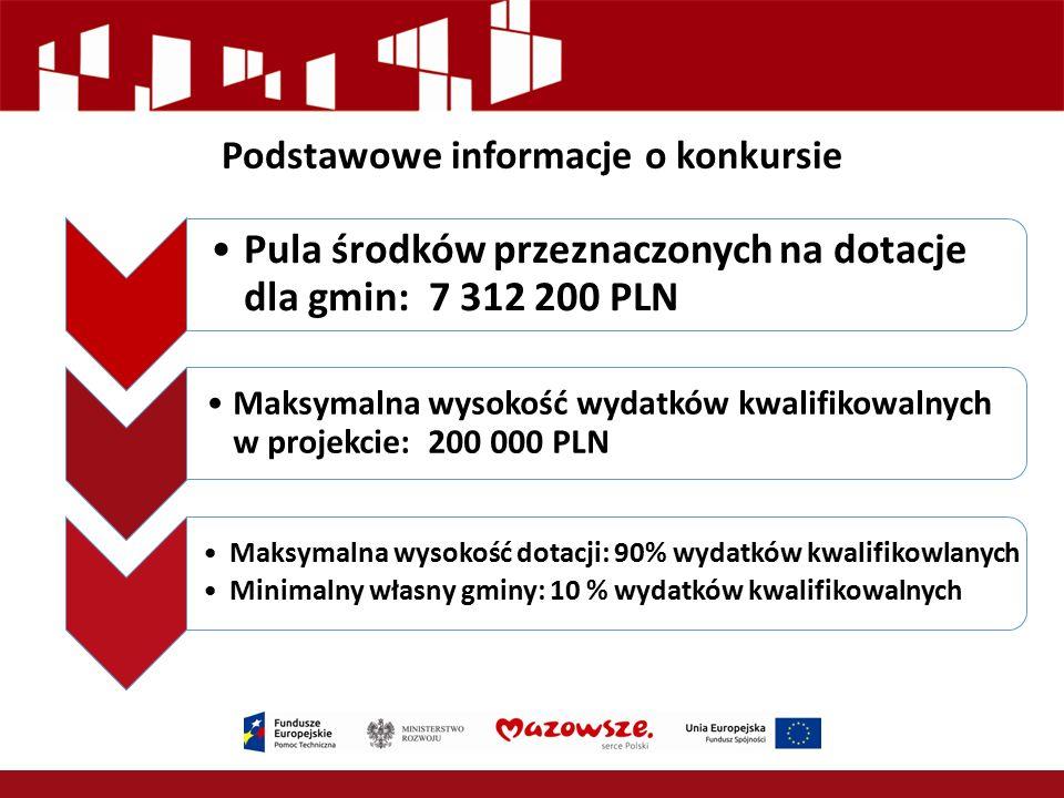 Podstawowe informacje o konkursie Pula środków przeznaczonych na dotacje dla gmin: 7 312 200 PLN Maksymalna wysokość wydatków kwalifikowalnych w proje