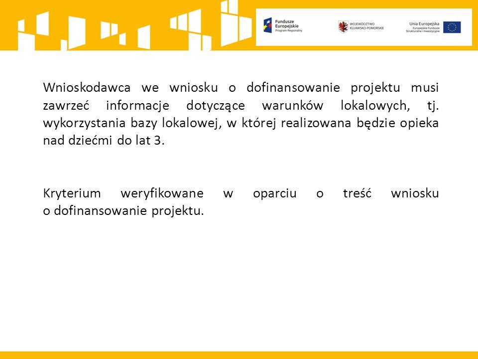 Wnioskodawca we wniosku o dofinansowanie projektu musi zawrzeć informacje dotyczące warunków lokalowych, tj.