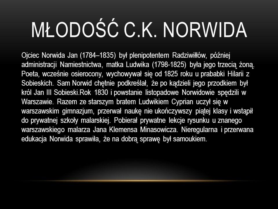MŁODOŚĆ C.K. NORWIDA Ojciec Norwida Jan (1784–1835) był plenipotentem Radziwiłłów, później administracji Namiestnictwa, matka Ludwika (1798-1825) była