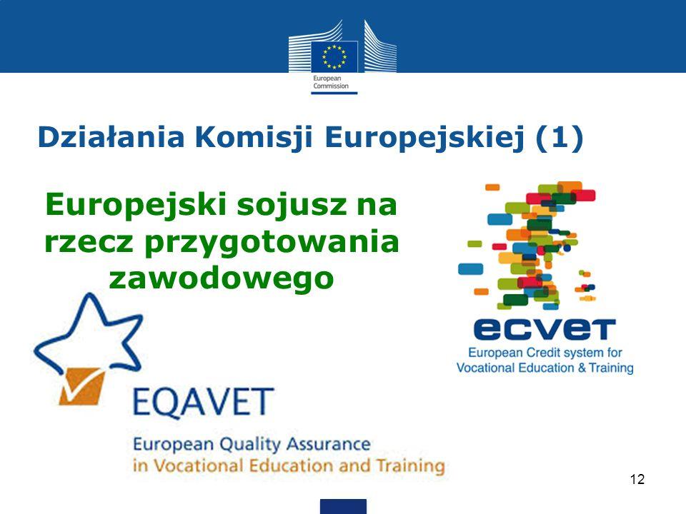 Działania Komisji Europejskiej (1) 12 Europejski sojusz na rzecz przygotowania zawodowego