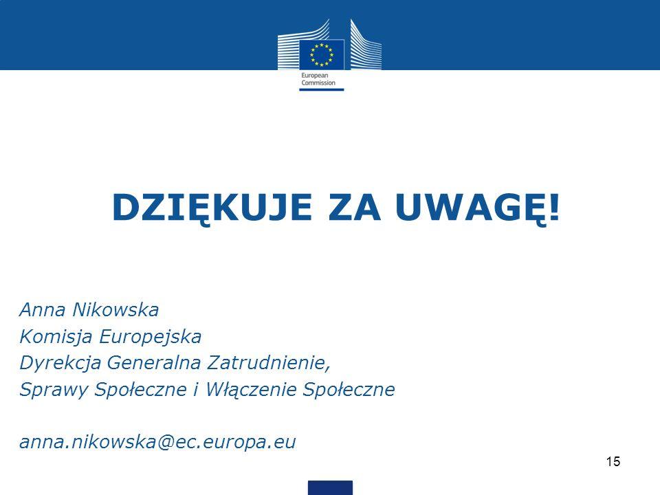 DZIĘKUJE ZA UWAGĘ! Anna Nikowska Komisja Europejska Dyrekcja Generalna Zatrudnienie, Sprawy Społeczne i Włączenie Społeczne anna.nikowska@ec.europa.eu