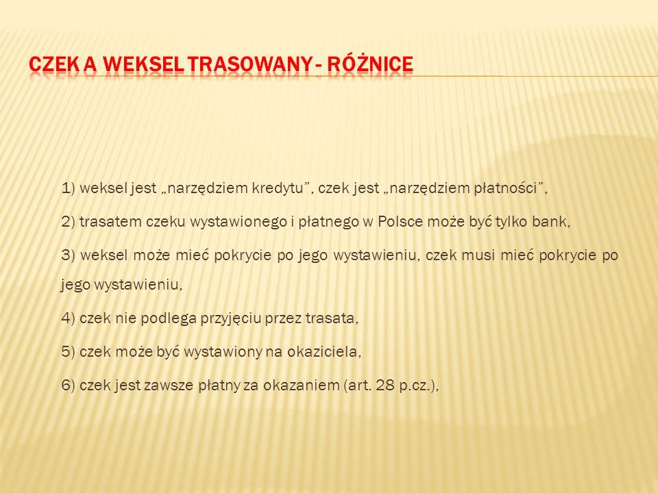 7) jest przenoszony przez indos, 8) może zawierać polecenie zapłaty wyłącznie określonej sumy pieniężnej, 9) solidarna odpowiedzialność dłużników, 10