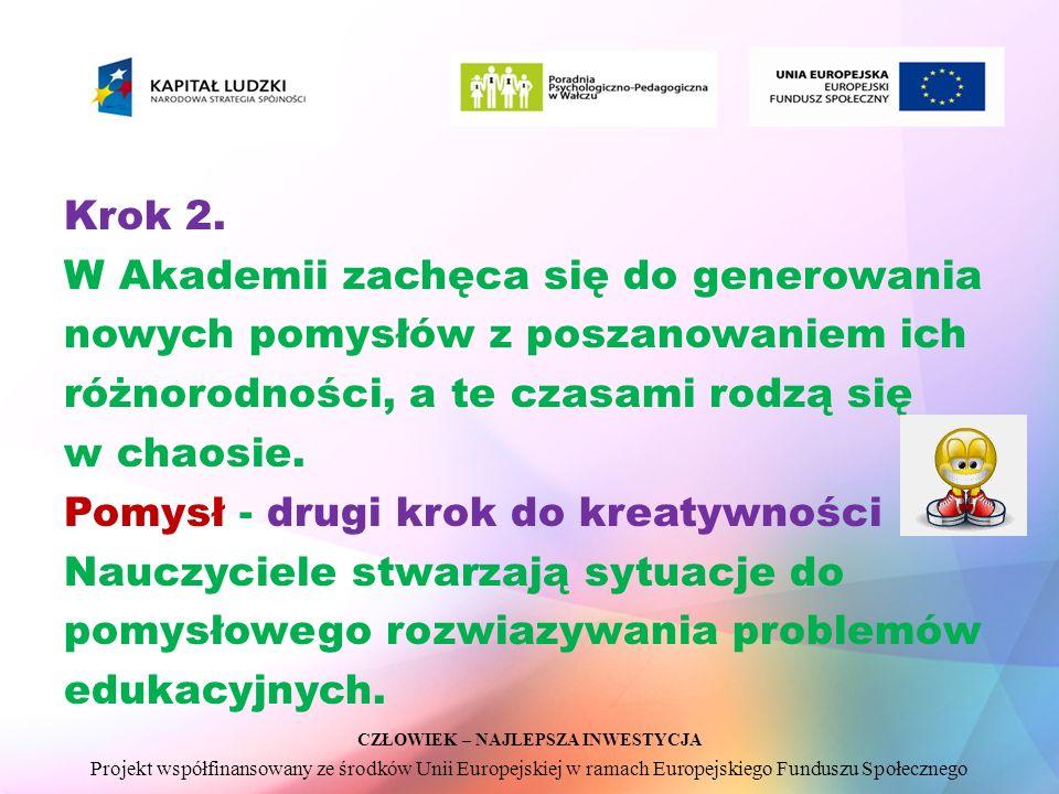 CZŁOWIEK – NAJLEPSZA INWESTYCJA Projekt współfinansowany ze środków Unii Europejskiej w ramach Europejskiego Funduszu Społecznego Krok 2.