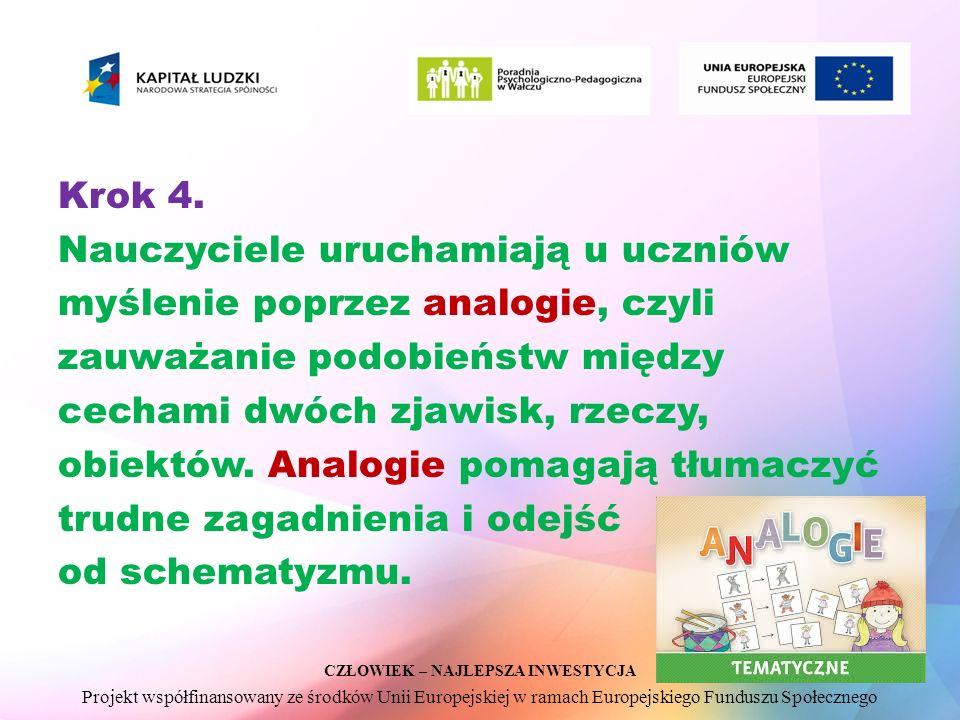 CZŁOWIEK – NAJLEPSZA INWESTYCJA Projekt współfinansowany ze środków Unii Europejskiej w ramach Europejskiego Funduszu Społecznego Krok 4.