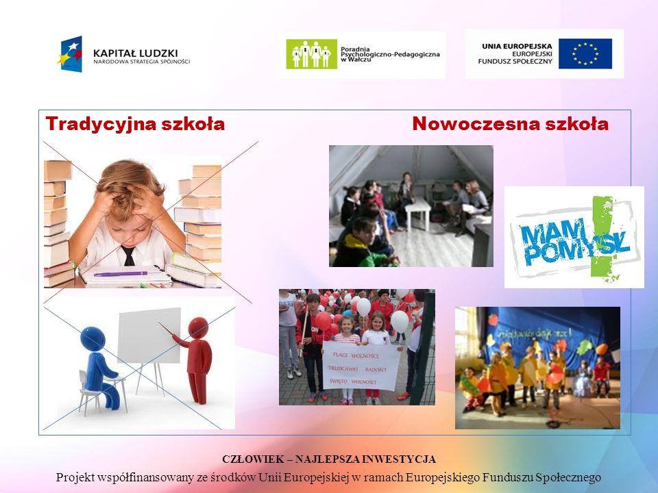 CZŁOWIEK – NAJLEPSZA INWESTYCJA Projekt współfinansowany ze środków Unii Europejskiej w ramach Europejskiego Funduszu Społecznego Tradycyjna szkoła Nowoczesna szkoła