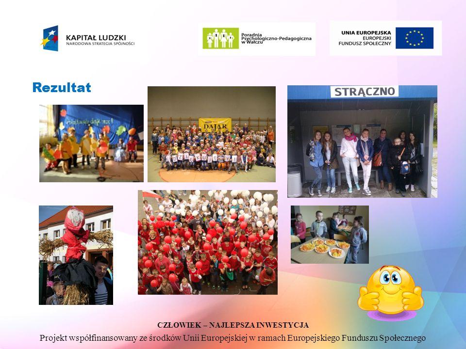 CZŁOWIEK – NAJLEPSZA INWESTYCJA Projekt współfinansowany ze środków Unii Europejskiej w ramach Europejskiego Funduszu Społecznego Rezultat