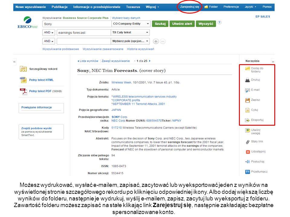 Możesz wydrukować, wysłać e-mailem, zapisać, zacytować lub wyeksportować jeden z wyników na wyświetlonej stronie szczegółowego rekordu po kliknięciu odpowiedniej ikony.