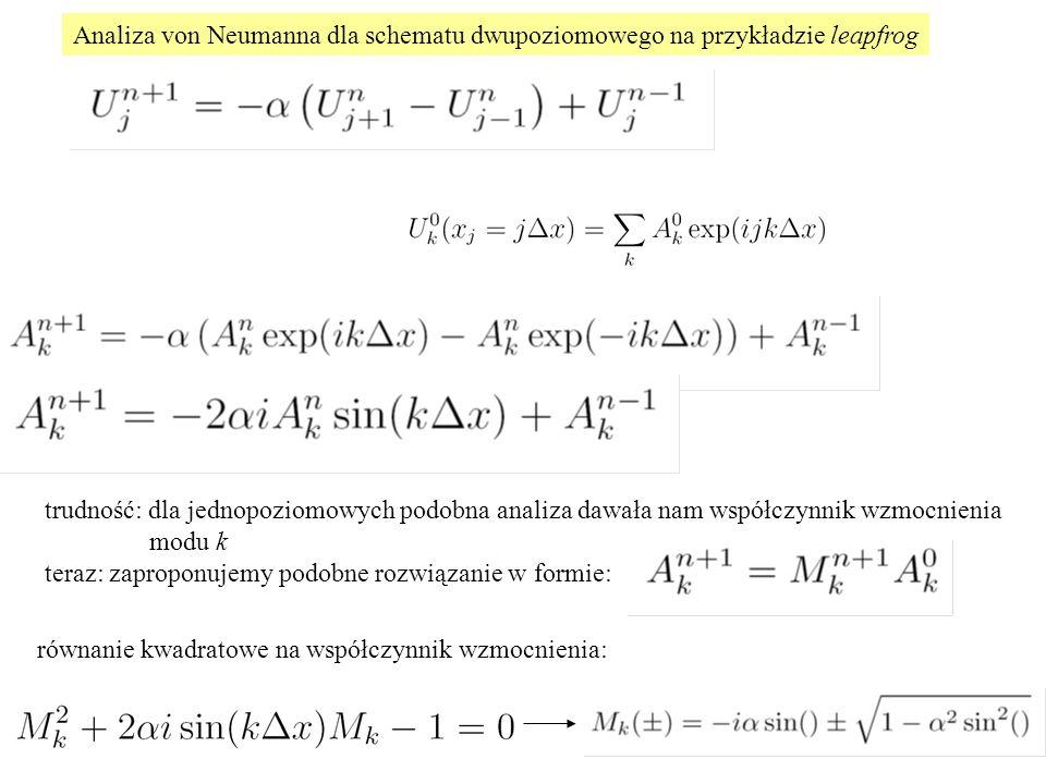 Analiza von Neumanna dla schematu dwupoziomowego na przykładzie leapfrog trudność: dla jednopoziomowych podobna analiza dawała nam współczynnik wzmocnienia modu k teraz: zaproponujemy podobne rozwiązanie w formie: równanie kwadratowe na współczynnik wzmocnienia: