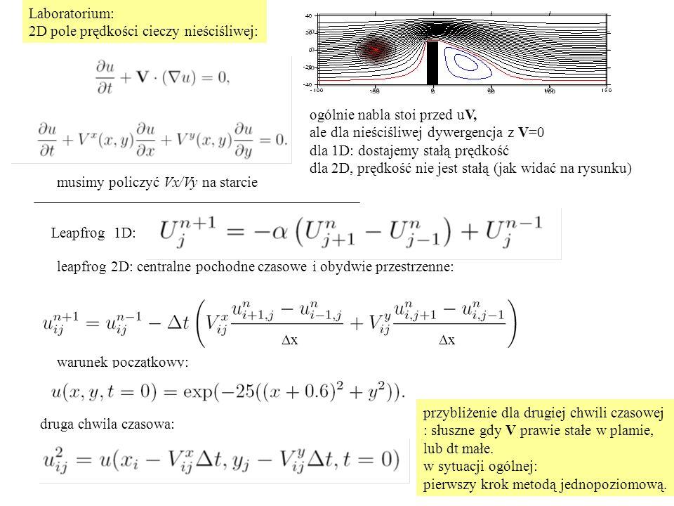 Laboratorium: 2D pole prędkości cieczy nieściśliwej: ogólnie nabla stoi przed uV, ale dla nieściśliwej dywergencja z V=0 dla 1D: dostajemy stałą prędkość dla 2D, prędkość nie jest stałą (jak widać na rysunku) leapfrog 2D: centralne pochodne czasowe i obydwie przestrzenne: Leapfrog 1D: musimy policzyć Vx/Vy na starcie warunek początkowy: druga chwila czasowa: przybliżenie dla drugiej chwili czasowej : słuszne gdy V prawie stałe w plamie, lub dt małe.