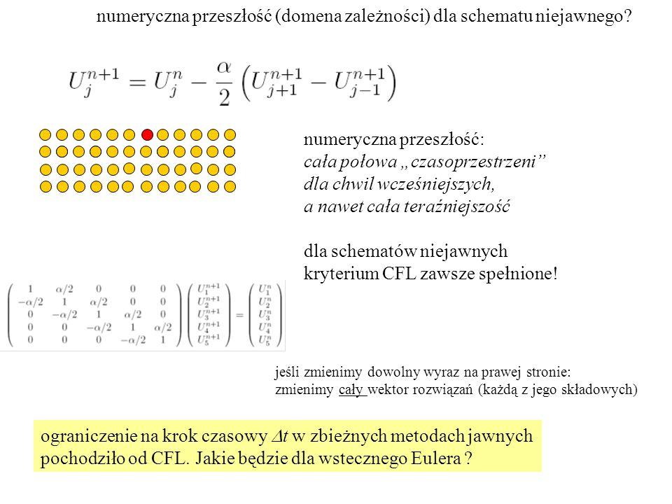 numeryczna przeszłość (domena zależności) dla schematu niejawnego.