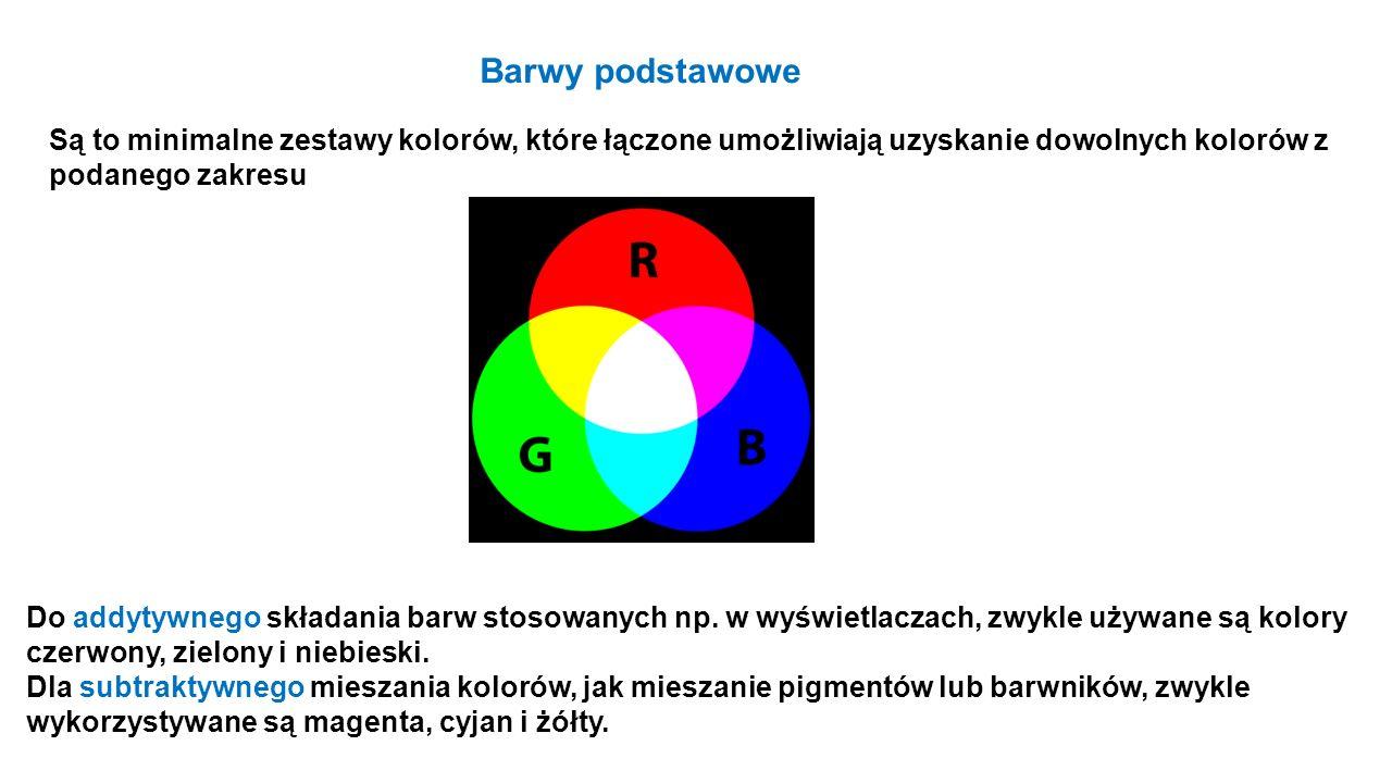 Barwy podstawowe Są to minimalne zestawy kolorów, które łączone umożliwiają uzyskanie dowolnych kolorów z podanego zakresu Do addytywnego składania ba