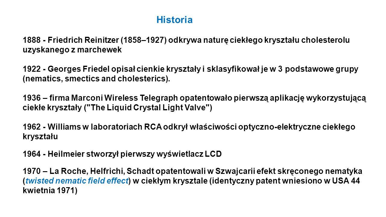 1888 - Friedrich Reinitzer (1858–1927) odkrywa naturę ciekłego kryształu cholesterolu uzyskanego z marchewek 1922 - Georges Friedel opisał cienkie kry