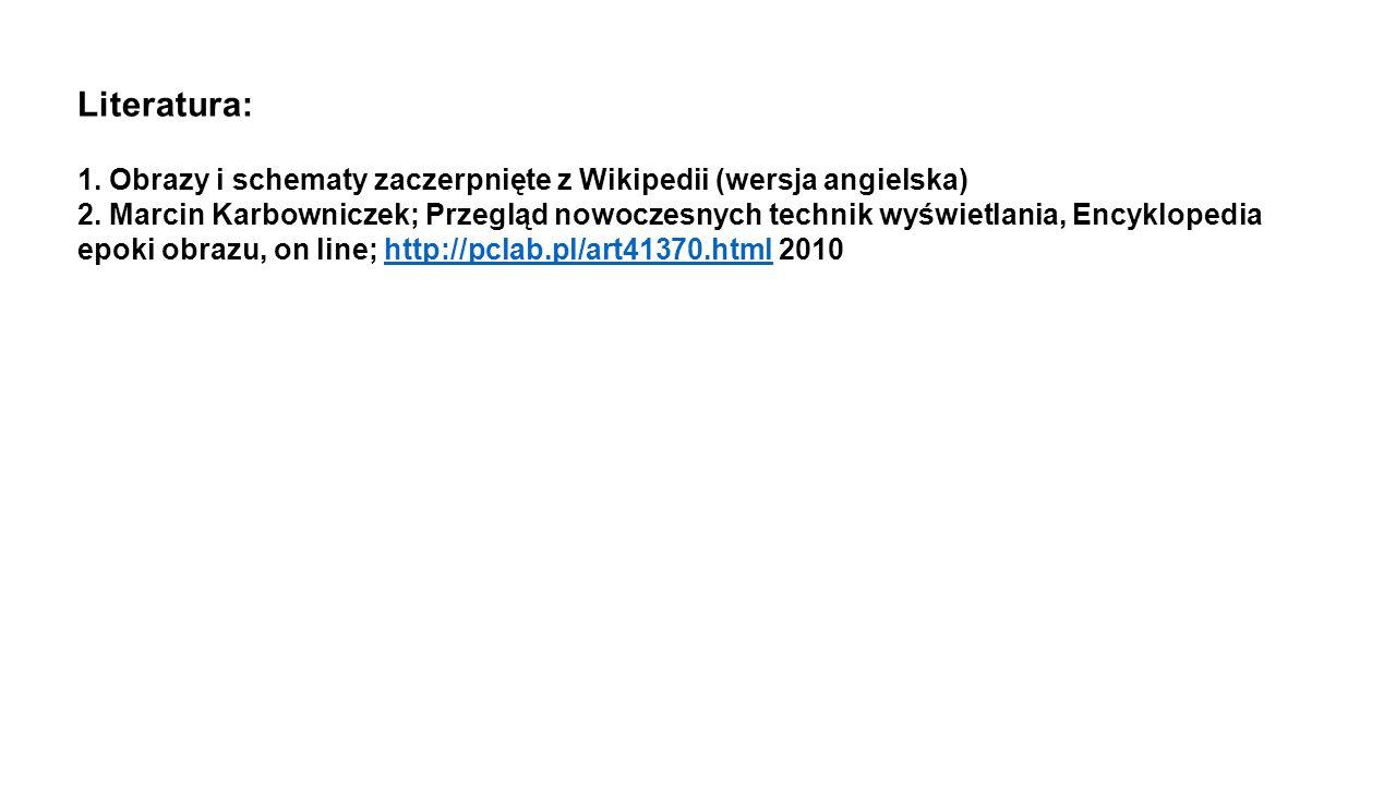 1. Obrazy i schematy zaczerpnięte z Wikipedii (wersja angielska) 2. Marcin Karbowniczek; Przegląd nowoczesnych technik wyświetlania, Encyklopedia epok