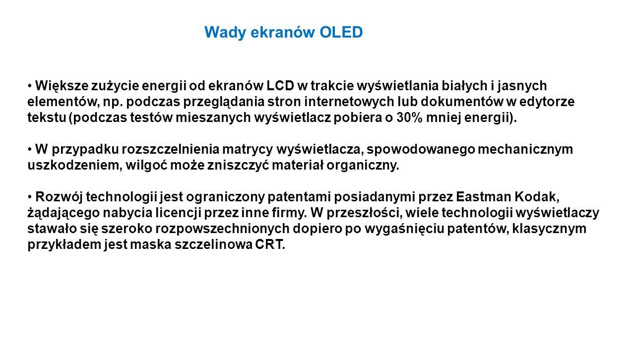 Większe zużycie energii od ekranów LCD w trakcie wyświetlania białych i jasnych elementów, np. podczas przeglądania stron internetowych lub dokumentów
