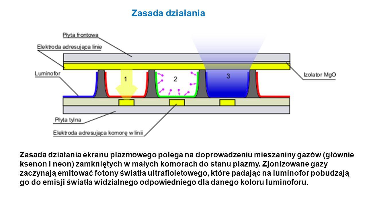 Zasada działania ekranu plazmowego polega na doprowadzeniu mieszaniny gazów (głównie ksenon i neon) zamkniętych w małych komorach do stanu plazmy. Zjo