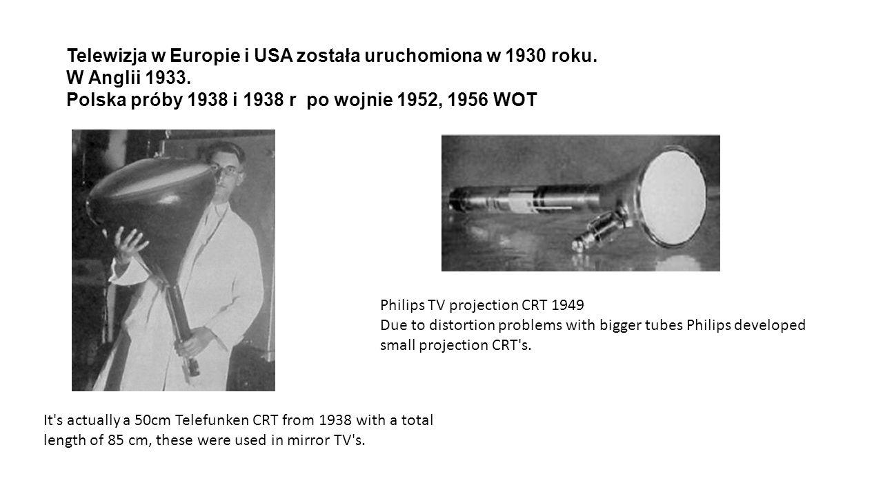 Telewizja w Europie i USA została uruchomiona w 1930 roku. W Anglii 1933. Polska próby 1938 i 1938 r po wojnie 1952, 1956 WOT It's actually a 50cm Tel