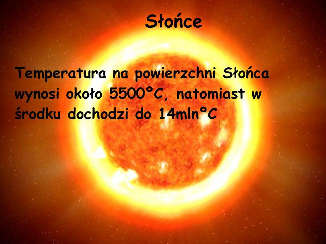 Słońce Temperatura na powierzchni Słońca wynosi około 5500ºC, natomiast w środku dochodzi do 14mlnºC