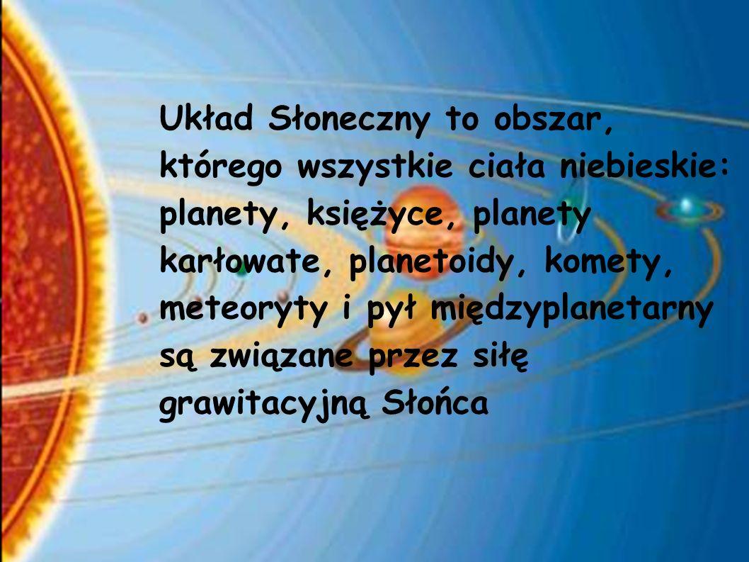 Układ Słoneczny to obszar, którego wszystkie ciała niebieskie: planety, księżyce, planety karłowate, planetoidy, komety, meteoryty i pył międzyplanetarny są związane przez siłę grawitacyjną Słońca