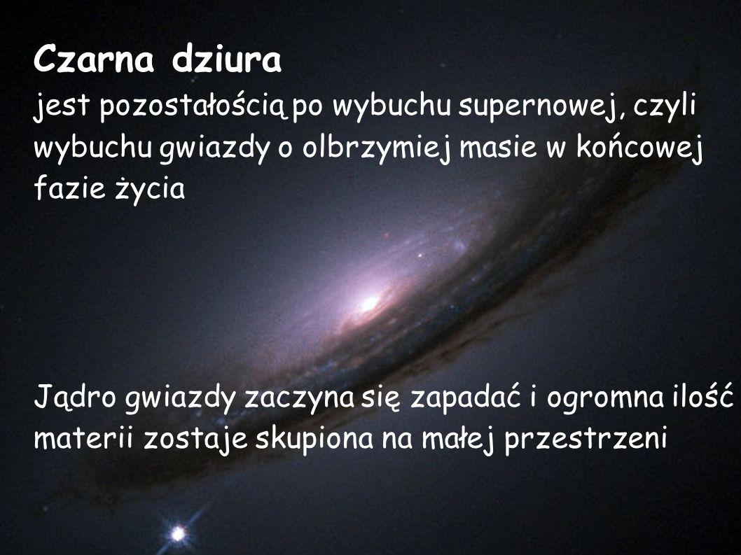 Czarna dziura jest pozostałością po wybuchu supernowej, czyli wybuchu gwiazdy o olbrzymiej masie w końcowej fazie życia Jądro gwiazdy zaczyna się zapadać i ogromna ilość materii zostaje skupiona na małej przestrzeni