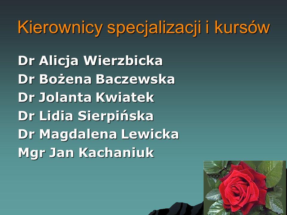 Kierownicy specjalizacji i kursów Dr Alicja Wierzbicka Dr Bożena Baczewska Dr Jolanta Kwiatek Dr Lidia Sierpińska Dr Magdalena Lewicka Mgr Jan Kachani
