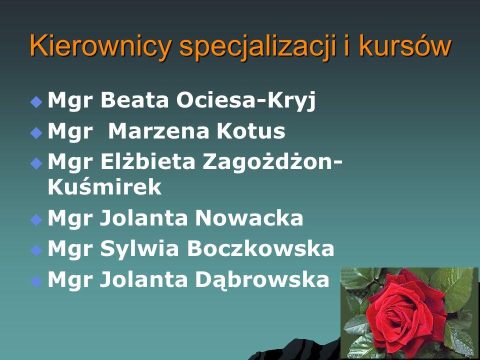 Kierownicy specjalizacji i kursów   Mgr Beata Ociesa-Kryj   Mgr Marzena Kotus   Mgr Elżbieta Zagożdżon- Kuśmirek   Mgr Jolanta Nowacka   Mgr Sylwia Boczkowska   Mgr Jolanta Dąbrowska