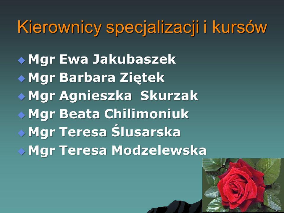 Kierownicy specjalizacji i kursów  Mgr Ewa Jakubaszek  Mgr Barbara Ziętek  Mgr Agnieszka Skurzak  Mgr Beata Chilimoniuk  Mgr Teresa Ślusarska  Mgr Teresa Modzelewska
