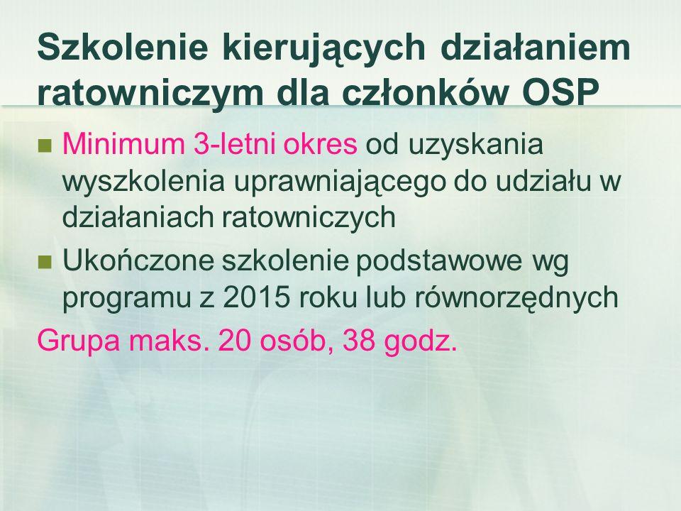Szkolenie naczelników OSP Ukończone szkolenie kierujących działaniem ratowniczym dla członków OSP Grupa do 20 osób, trwa 18 godz.