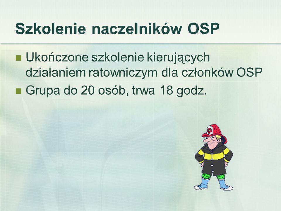 Szkolenie komendantów gminnych Wiek 25-65 lat Czynne członkowstwo w OSP Ukończone szkolenia dowódców i naczelników OSP Trwa 32 godziny.