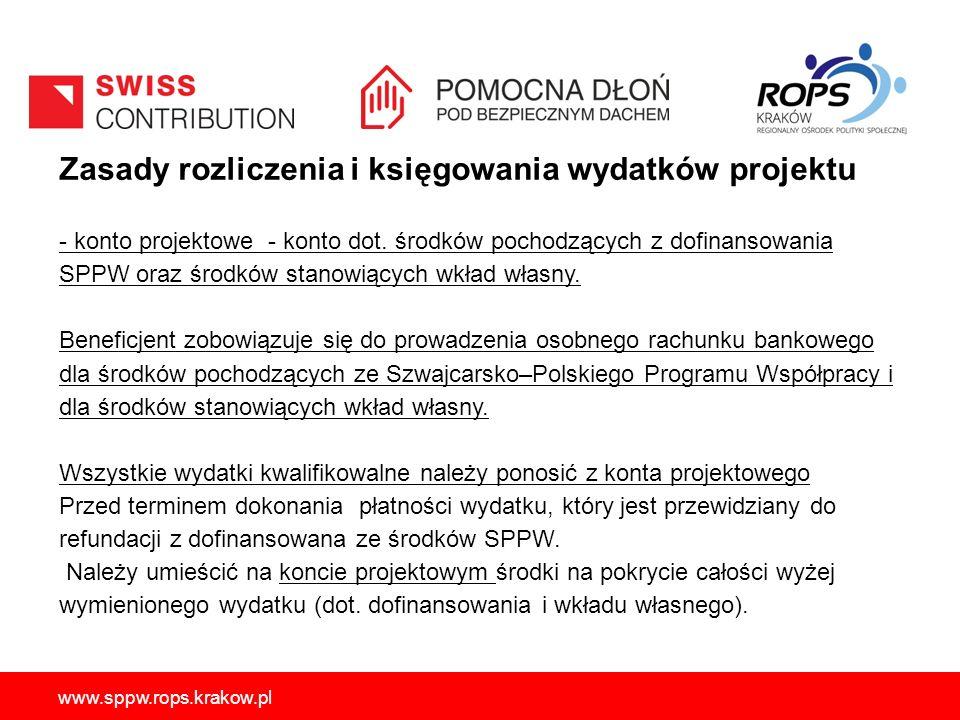 www.sppw.rops.krakow.pl Zasady rozliczenia i księgowania wydatków projektu - konto projektowe - konto dot. środków pochodzących z dofinansowania SPPW