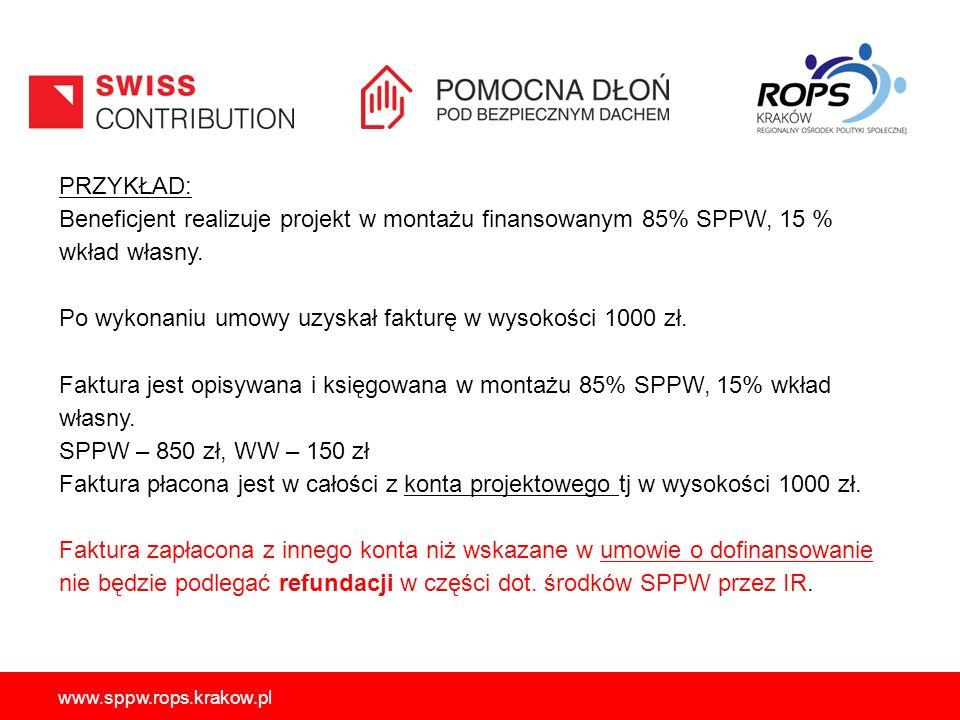 www.sppw.rops.krakow.pl PRZYKŁAD: Beneficjent realizuje projekt w montażu finansowanym 85% SPPW, 15 % wkład własny. Po wykonaniu umowy uzyskał fakturę
