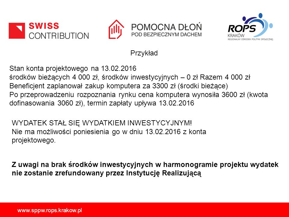 www.sppw.rops.krakow.pl Przykład Stan konta projektowego na 13.02.2016 środków bieżących 4 000 zł, środków inwestycyjnych – 0 zł Razem 4 000 zł Benefi
