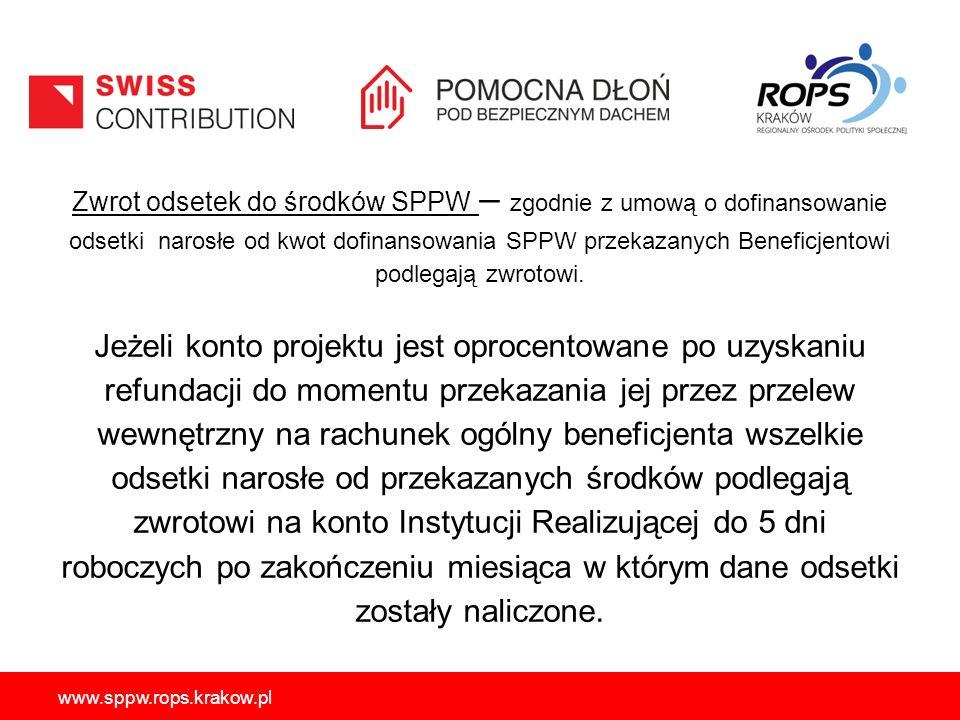 www.sppw.rops.krakow.pl Zwrot odsetek do środków SPPW – zgodnie z umową o dofinansowanie odsetki narosłe od kwot dofinansowania SPPW przekazanych Beneficjentowi podlegają zwrotowi.