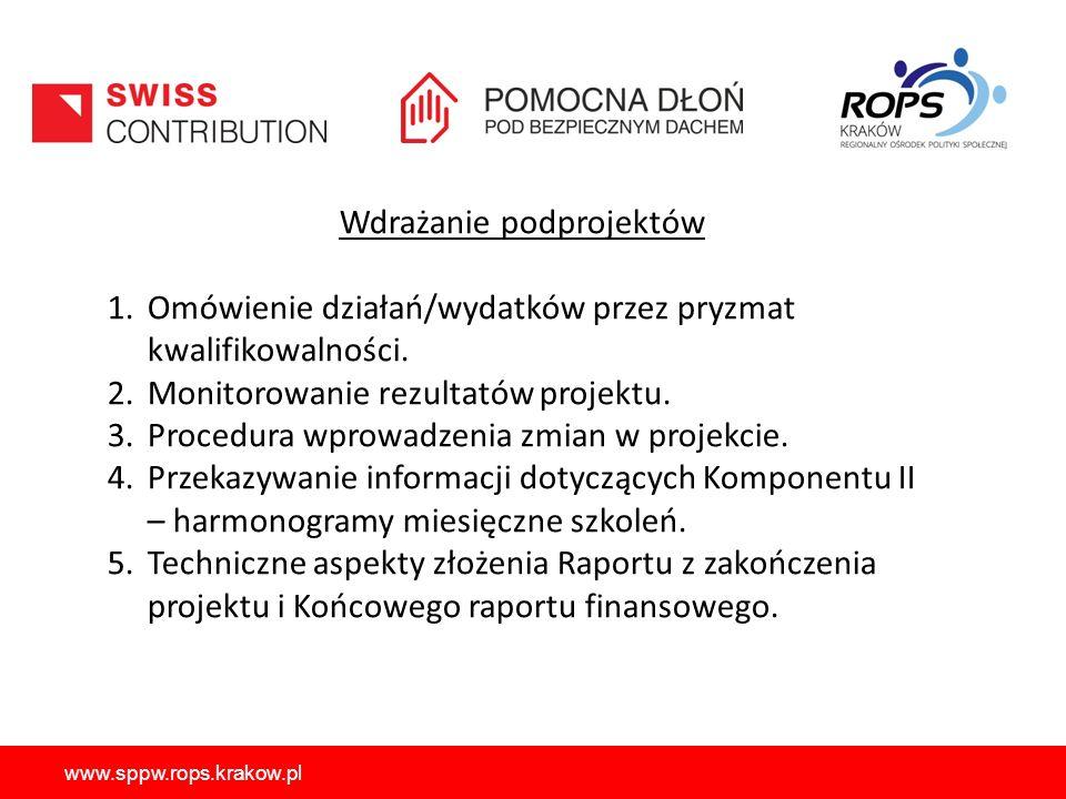 www.sppw.rops.krakow.pl Wdrażanie podprojektów 1.Omówienie działań/wydatków przez pryzmat kwalifikowalności. 2.Monitorowanie rezultatów projektu. 3.Pr