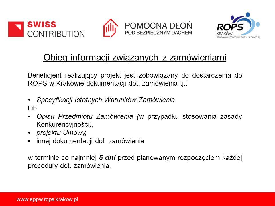 www.sppw.rops.krakow.pl Obieg informacji związanych z zamówieniami Beneficjent realizujący projekt jest zobowiązany do dostarczenia do ROPS w Krakowie dokumentacji dot.