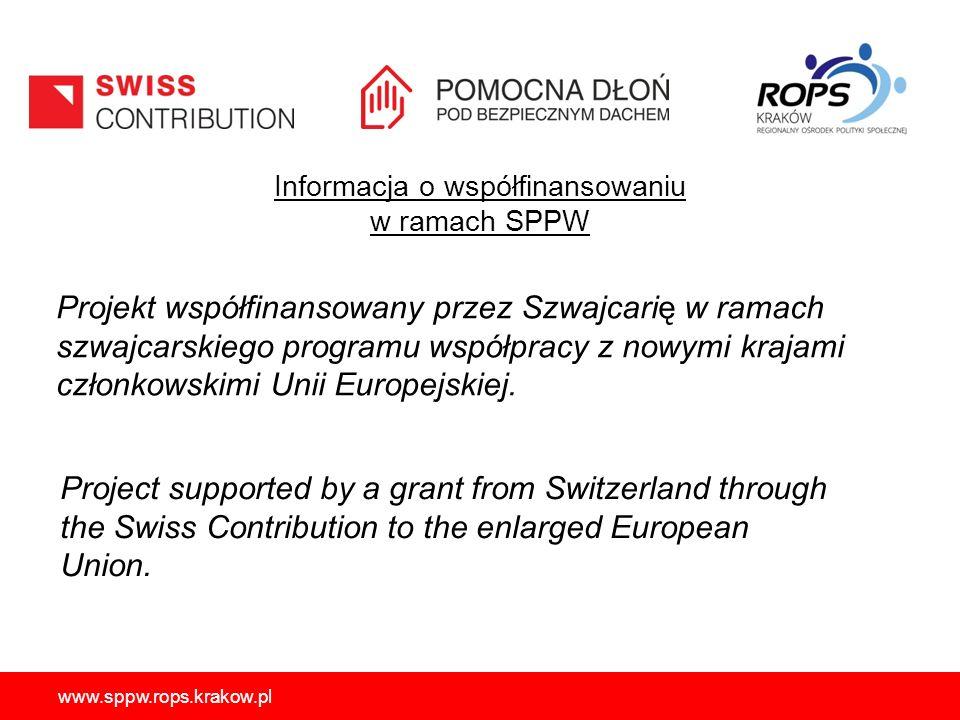 Informacja o współfinansowaniu w ramach SPPW Projekt współfinansowany przez Szwajcarię w ramach szwajcarskiego programu współpracy z nowymi krajami członkowskimi Unii Europejskiej.