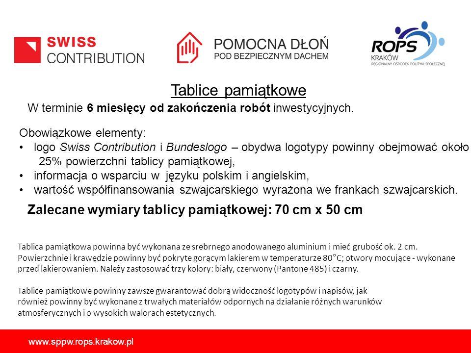 Tablice pamiątkowe W terminie 6 miesięcy od zakończenia robót inwestycyjnych. Obowiązkowe elementy: logo Swiss Contribution i Bundeslogo – obydwa logo