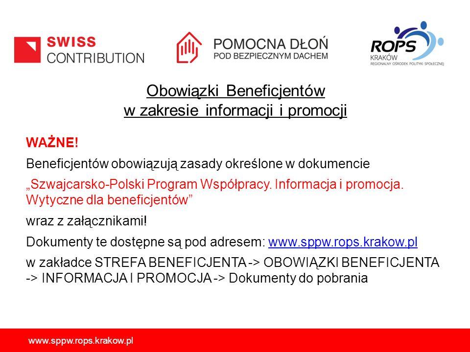 """Obowiązki Beneficjentów w zakresie informacji i promocji WAŻNE! Beneficjentów obowiązują zasady określone w dokumencie """"Szwajcarsko-Polski Program Wsp"""
