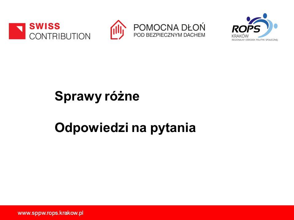 www.sppw.rops.krakow.pl Sprawy różne Odpowiedzi na pytania