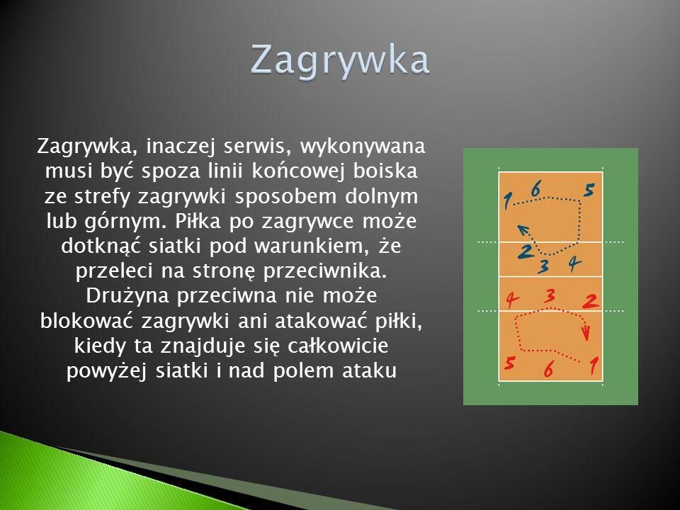 Zagrywka, inaczej serwis, wykonywana musi być spoza linii końcowej boiska ze strefy zagrywki sposobem dolnym lub górnym. Piłka po zagrywce może dotkną