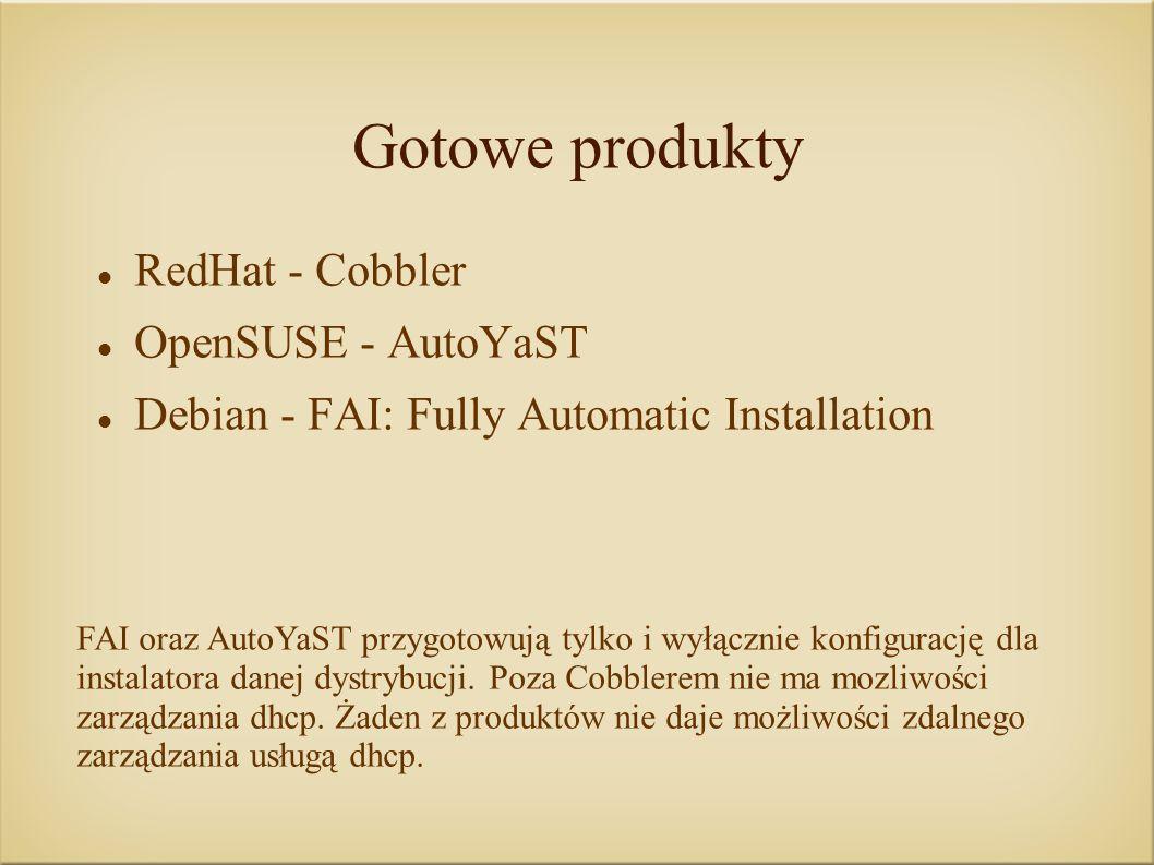 Gotowe produkty RedHat - Cobbler OpenSUSE - AutoYaST Debian - FAI: Fully Automatic Installation FAI oraz AutoYaST przygotowują tylko i wyłącznie konfigurację dla instalatora danej dystrybucji.