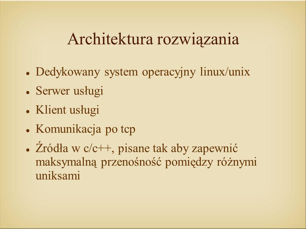 Architektura rozwiązania Dedykowany system operacyjny linux/unix Serwer usługi Klient usługi Komunikacja po tcp Źródła w c/c++, pisane tak aby zapewnić maksymalną przenośność pomiędzy różnymi uniksami